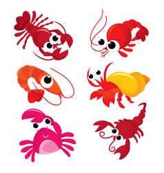 Cartoon crustacean family vector