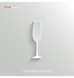 Champagne glass icon - white app button vector image
