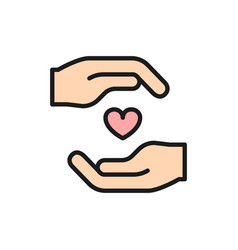 Charity organs donation heart protection flat vector