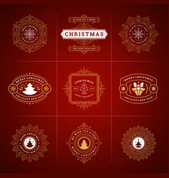 christmas ornate labels and badges set vector image
