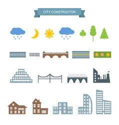City constructor icons set vector