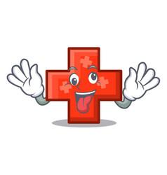 Crazy cross mascot cartoon style vector