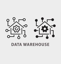 Data warehouse icon on white background vector