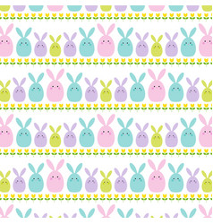 easter bunny and tulip stripe vector image