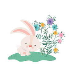 Easter bunny with flowers isolated icon vector