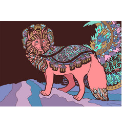 fantasy fox prince with floral ornamentation vector image