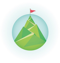 flag on the mountain peak vector image