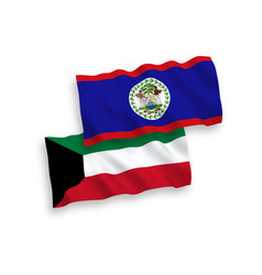 Flags belize and kuwait on a white background vector