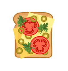 Flat icon of appetizing sandwich with vector