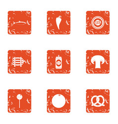 Food substance icons set grunge style vector