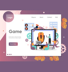 game website landing page design template vector image