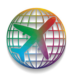 globe and plane travel sign colorful icon vector image