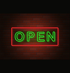 glowing neon signboard open on brick wall vector image