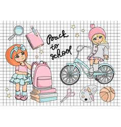 go to school autumn set vector image