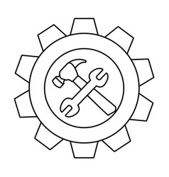 Hammer wrench gear tool icon vector