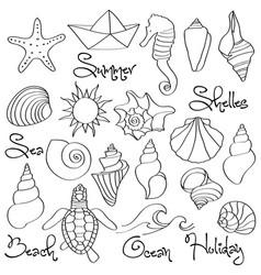 hand drawn doodle seashells and sea elements set vector image