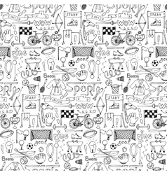 Hand drawn Sport equipment seamless pattern vector