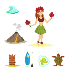 Hawaii icons dancer woman tiki gods totem pole vector