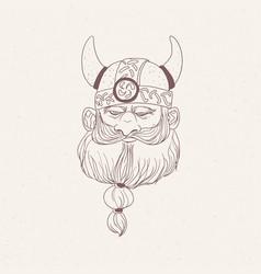 head bearded viking or nordic warrior wearing vector image