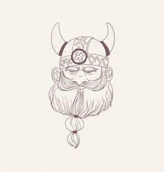 Head of bearded viking or nordic warrior wearing vector