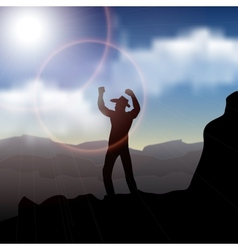 Hiker standing on top of a mountain and enjoying vector image