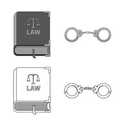 Isolated object law and lawyer symbol set of vector