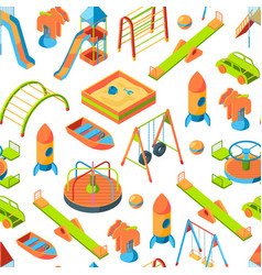 Isometric playground objects background vector