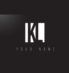 kl letter logo with black and white negative vector image