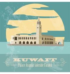 Kuwait Retro styled image Palace Arantar lakeside vector