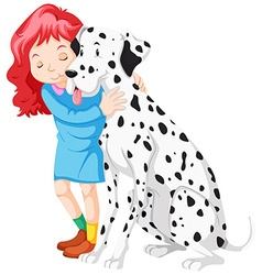 Little girl hugging dog vector