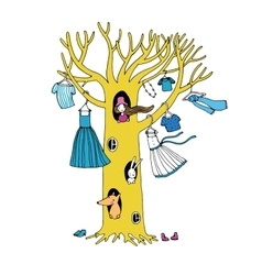 Magic tree with clothes vector