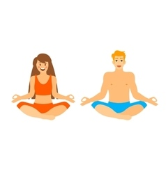 Man and woman sitting in lotus position vector
