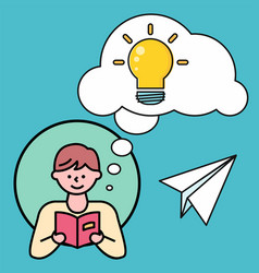 Man reading book thoughts bubble with light bulb vector