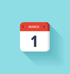 March 1 Isometric Calendar Icon With Shadow vector image