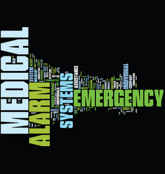 Medical alarm systems text background word cloud vector