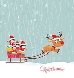 Merry christmas winter with kids vector