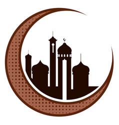 Moon with arabic temples ramadan kareem vector