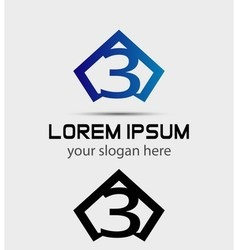 Number 3 logo icon design template elements vector