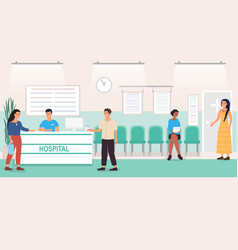 patients at a hospital reception desk vector image
