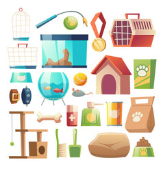 pet shop food and accessories zoo supermarket set vector image