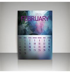 Polygonal 2016 calendar design for FEBRUARY vector