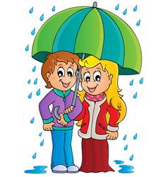 rainy weather theme image 1 vector image