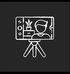 real estate video chalk white icon on black vector image