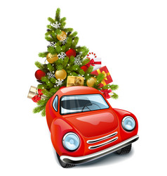 red car with christmas tree vector image