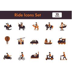 Ride icon set in orange and dark magenta color vector
