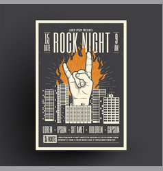 rock night party poster flyer mockup template for vector image
