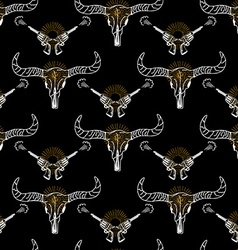 seamless pattern background longhorn skull and vector image