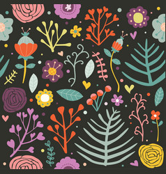 seamless pattern floral black background editable vector image