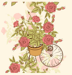 seamless wallpaper pattern with hand drawn roses vector image