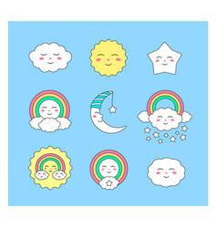 set cute heavenly characters vector image